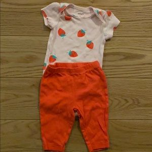 Carters strawberry onsie set